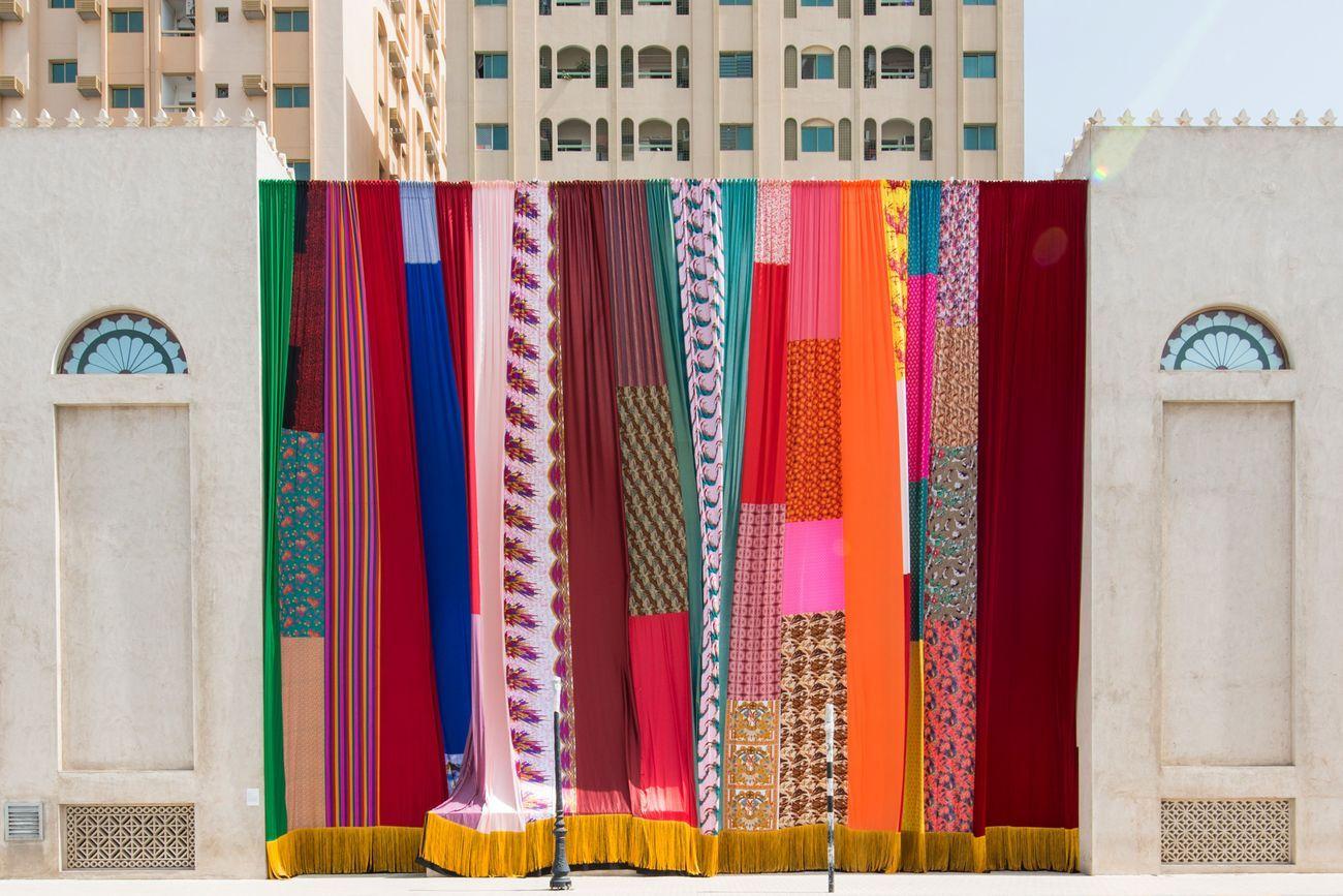 Joe Namy,Libretto-o-o. A Curtain Design in the Bright Sunshine Heavy with Love, 2017. Installation view atSharjah Biennial 13, Sharjah Art Foundation, 2017.Commissioned by Sharjah Art Foundation
