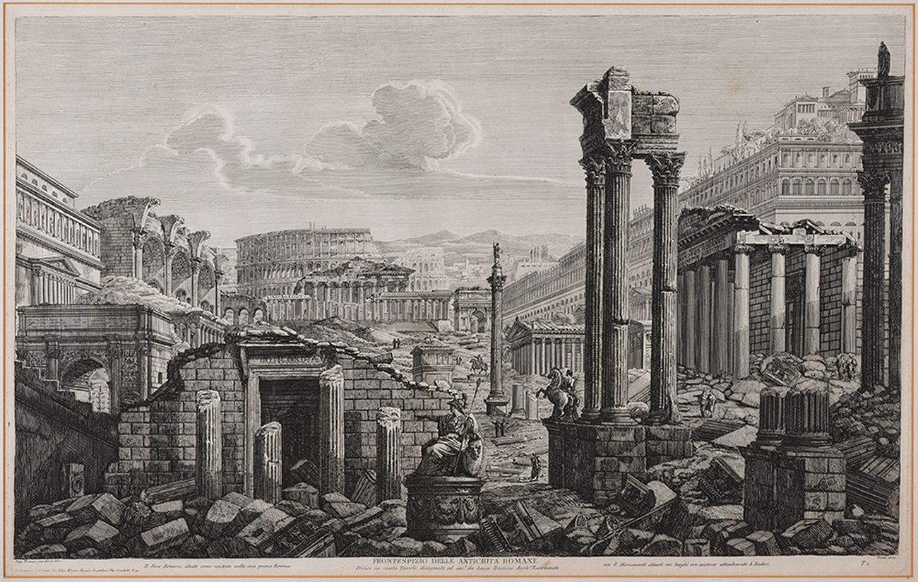Luigi Rossini, Frontespizio delle Antichità romane, 1823, incisione all'acquaforte