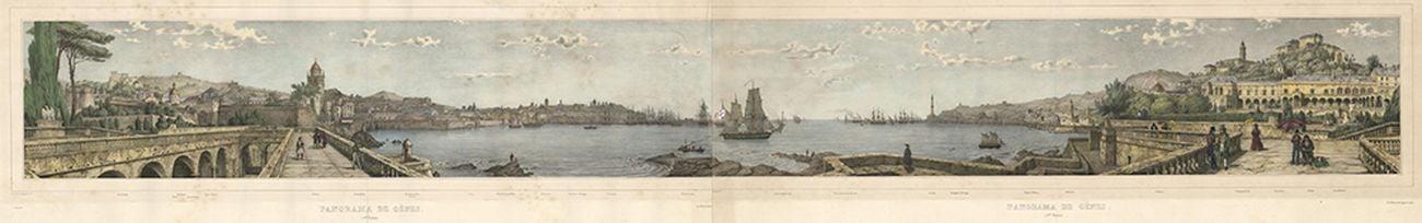 Nicolas Chapuy, Panorama de Gènes, 1840, litografia acquerellata a mano