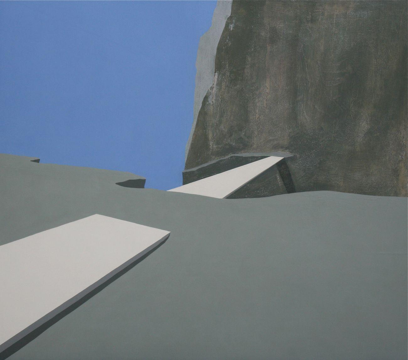 Pierpaolo Curti, White Bridge, 2010, tecnica mista su tavola, 200x200 cm