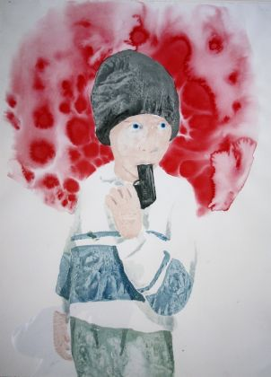 RIELLY James 'Fear of gun' 2009 mixed media on paper cm 80x60