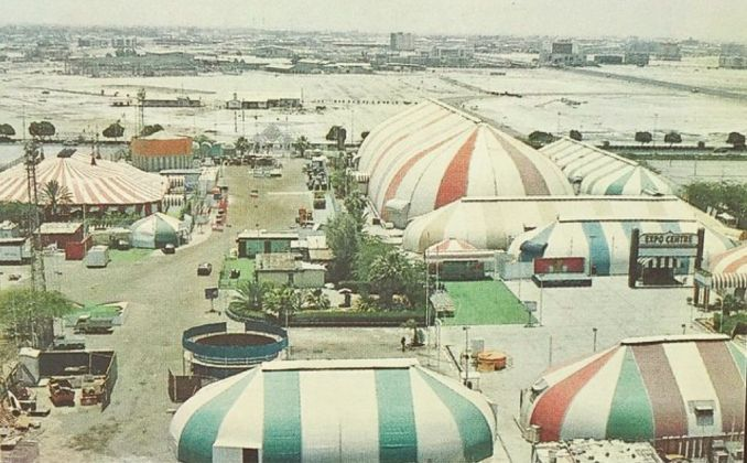 Sharjah Expo Centre (aerial view), site of first Sharjah Biennial, 1993