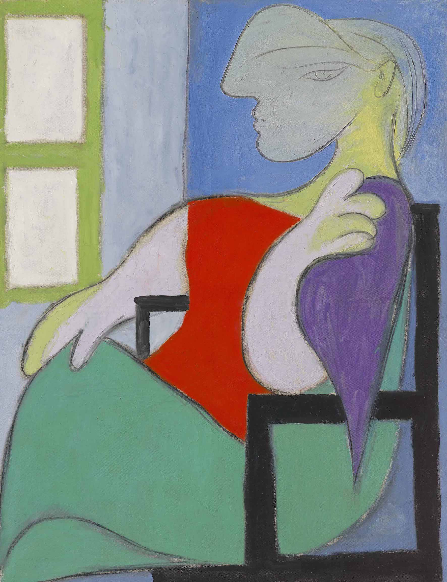PABLO PICASSO Femme assise près d'une fenêtre (Marie-Thérèse) oil on canvas 57 ½ x 44 ⅞ in. (146 x 114 cm.) Painted in Boisgeloup on 30 October 1932 - © Christie's Images Limited 2021