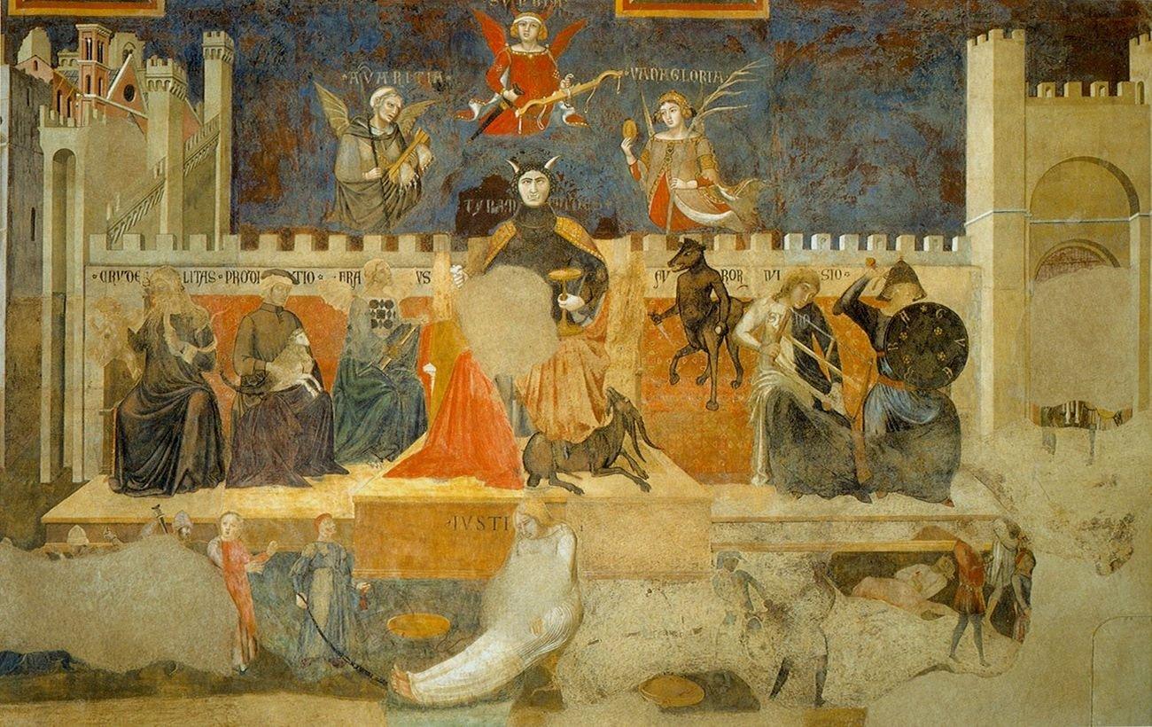Ambrogio Lorenzetti, Allegoria del Cattivo Governo, 1338 39, Sala della Pace, Palazzo Pubblico, Siena