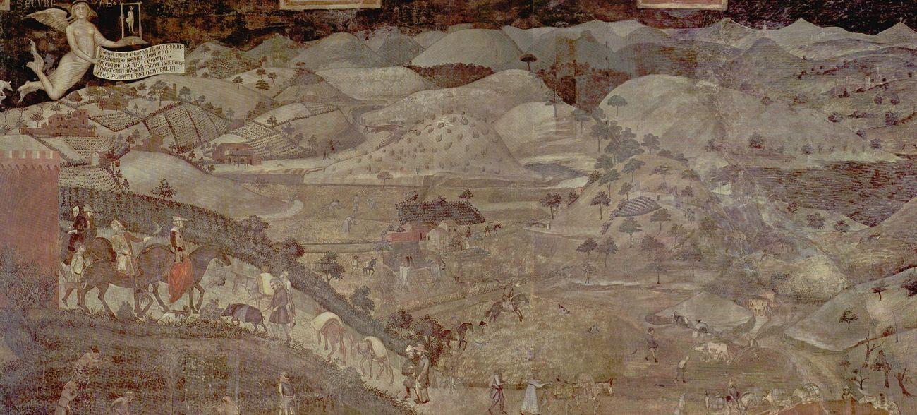 Ambrogio Lorenzetti, Effetti del Buon Governo in campagna, 1338 39, Sala della Pace, Palazzo Pubblico, Siena