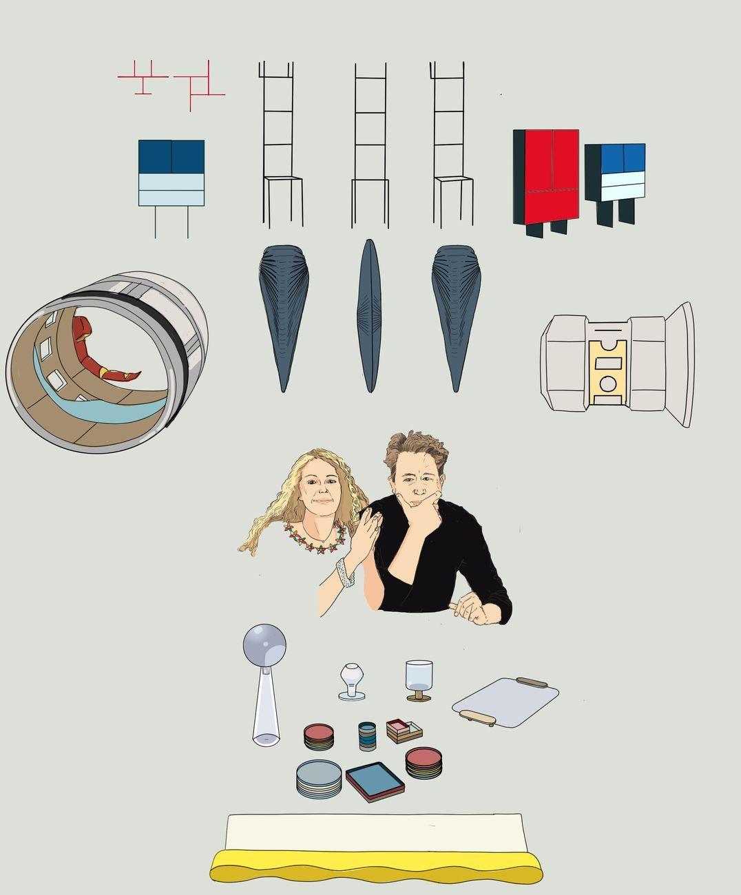 Annalisa Dominoni e Benedetto Quaquaro insieme ai lori progetti. Credits Chiara Nocentini