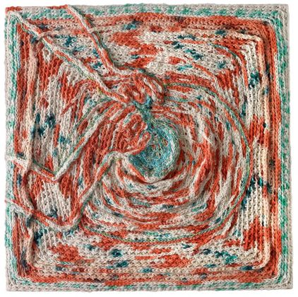 Christian Holstad, Tornio (after Beato), 2020-21, hand dyed cotton butchers twine, linen-cotton-wool on plywood, 66 x 66 cm © Christian Holstad. Courtesy the artist & Victoria Miro
