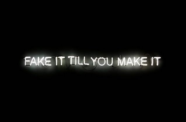 "Edson Luli ""Fake It Till You Make It"", 2018, Neon sign, transformer, 9 x 150 cm, Rebecca Russo Collection, Videoinsight® Collection"