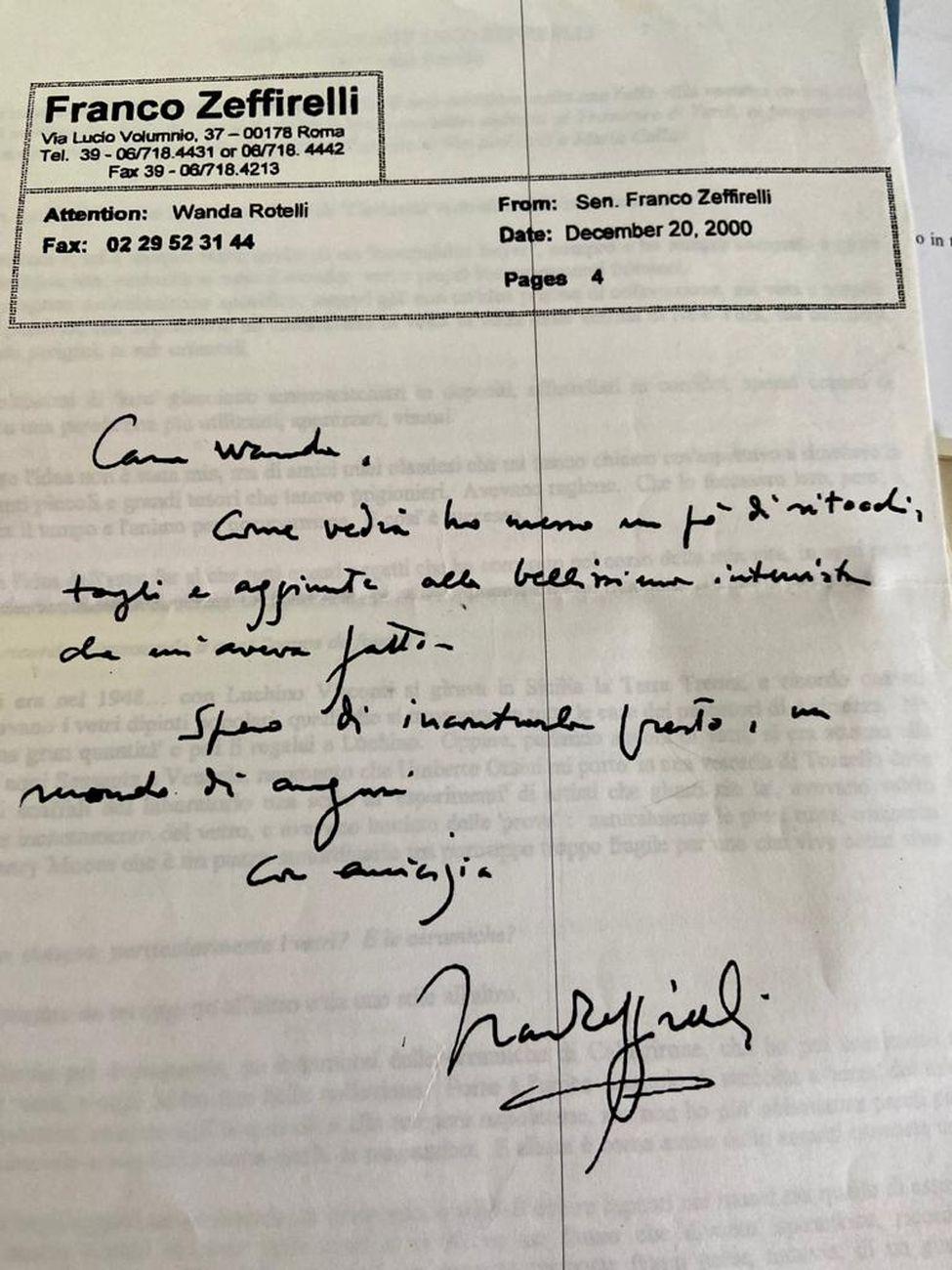 Fax di Franco Zeffirelli a Wanda Rotelli
