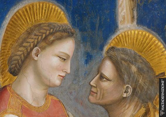 Giotto, Visitazione di Maria ad Elisabetta, dettaglio. Foto Haltadefinizione