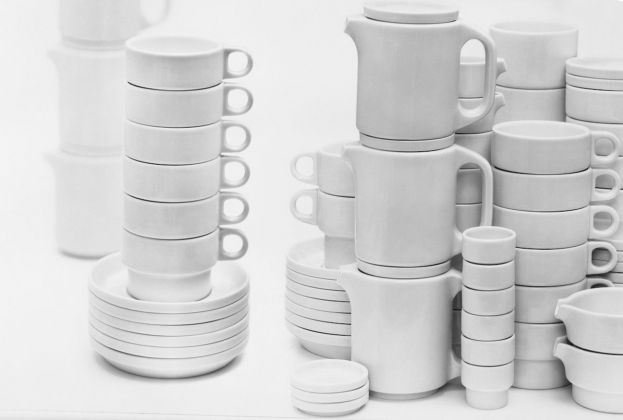 Hans (Nick) Roericht, stackable hotel tableware TC 100, 1958 59 © HfGArchive Museum Ulm. Photo Wolfgang Siol, 1961