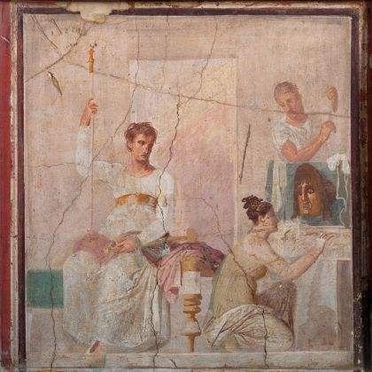 Fresco of a seated actor dressed as a king and female figure with a small painting of a mask, Italy, AD 30–40. With permission of the Ministero della Cultura ̶ Museo Archeologico Nazionale di Napoli