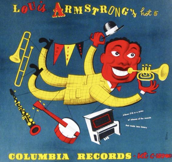 Louis Armstrong's Hot Five Label Columbia 78 rpm album 1940s Design Jim Flora