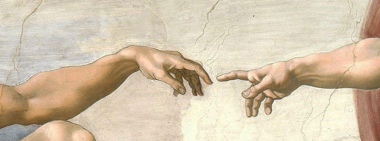Michelangelo Buonarroti, Creazione di Adamo, 1511 ca., dettaglio. Cappella Sistina, Città del Vaticano
