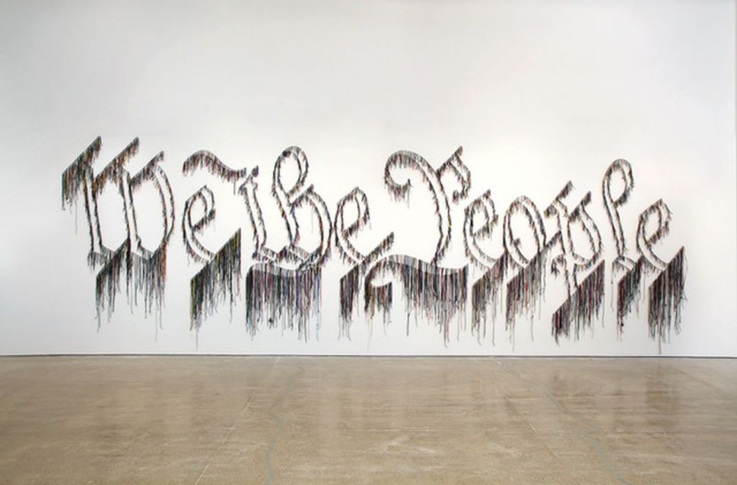 Nari Ward, We the People, 2011. Courtesy the artist & Lehmann Maupin