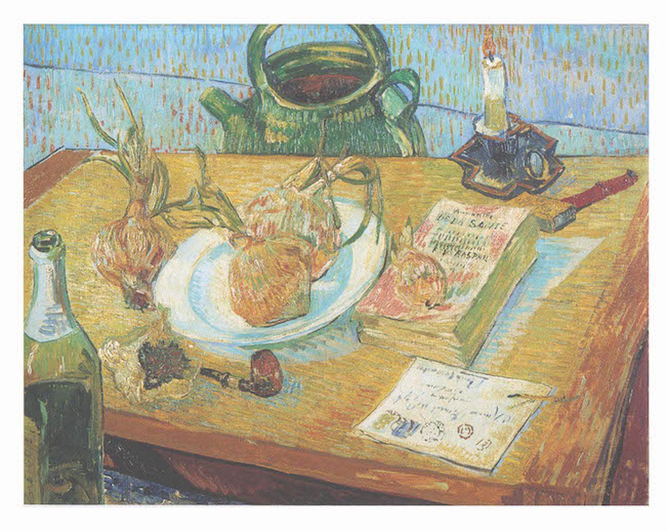 Vincent van Gogh, Natura morta con cipolle, olio su tela, 49,6 × 64,4 cm, Arles, 1889. Kröller Müller Museum, Otterlo