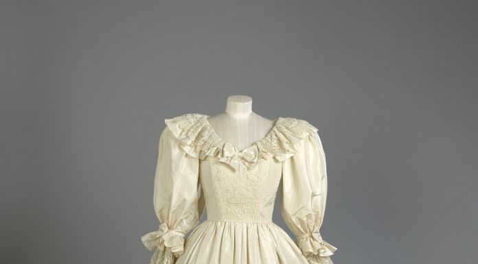 Wedding gown of Diana, Princess of Wales (front view) (c) Royal Collection Trust All Rights Reserved