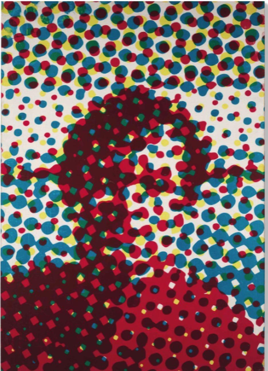 Alain Jacquet, Portrait d'homme bleu, rouge, jaune, 1964