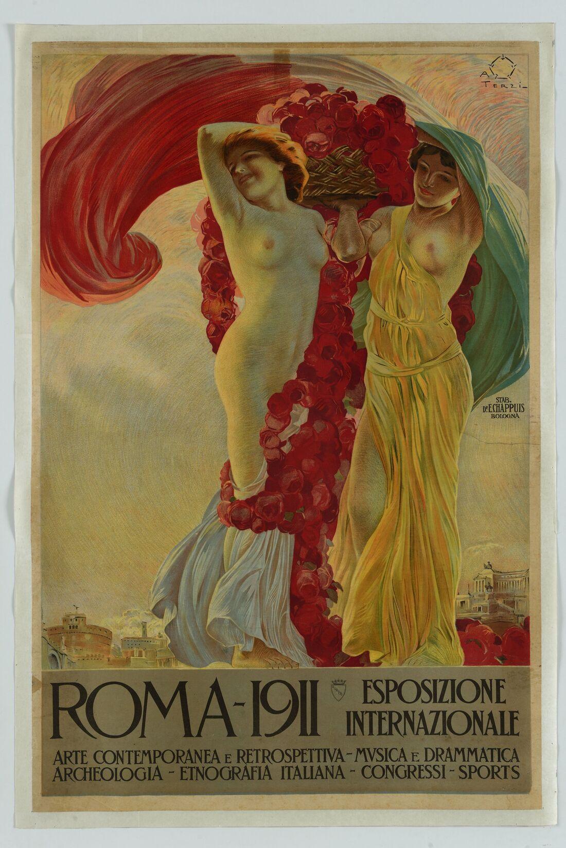 Aleardo Terzi, Manifesto per l'Esposizione Internazionale Roma 1911, Civica Raccolta delle Stampe A. Bertarelli, Castello Sforzesco, Milano