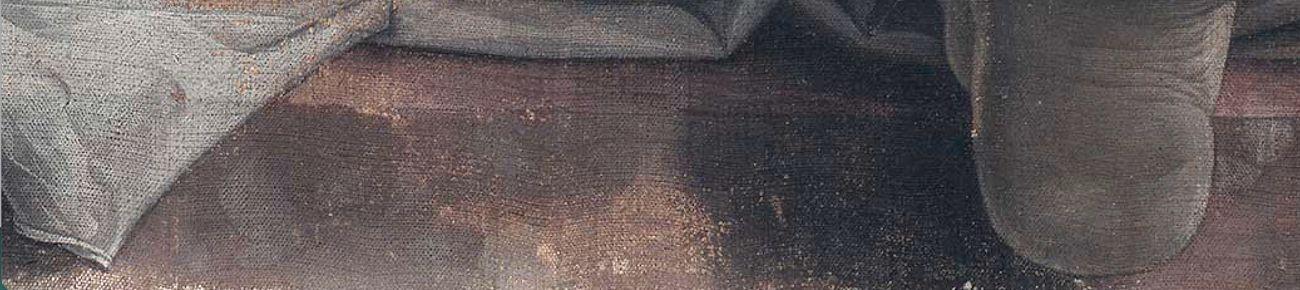 Andrea Mantegna, Cristo morto nel sepolcro e tre dolenti, 1470 74, particolare. Milano Pinacoteca Brera