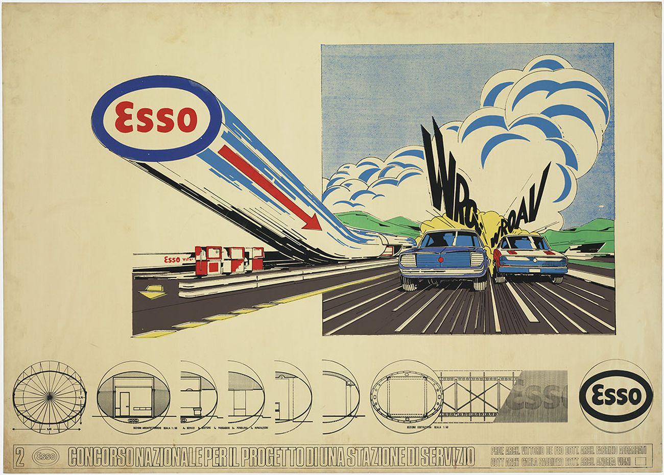 Concorso nazionale per il progetto di una stazione di servizio della ESSO (1° premio), 1970-71. Vittorio De Feo con F. Aggarbati, C. Saggioro, A. Vigni Andrea. Fondo Vittorio De Feo