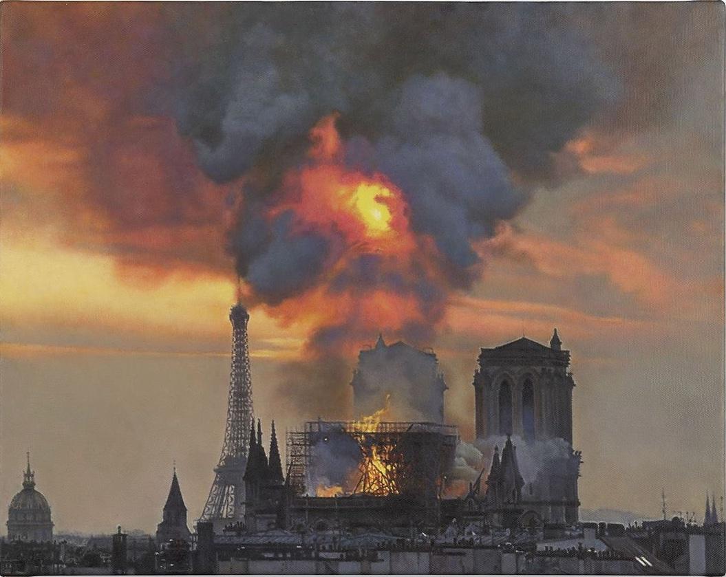 Damien Hirst, Notre Dame on Fire, 2019, olio su tela, 40,5x51 cm. Courtesy the artist & Gagosian