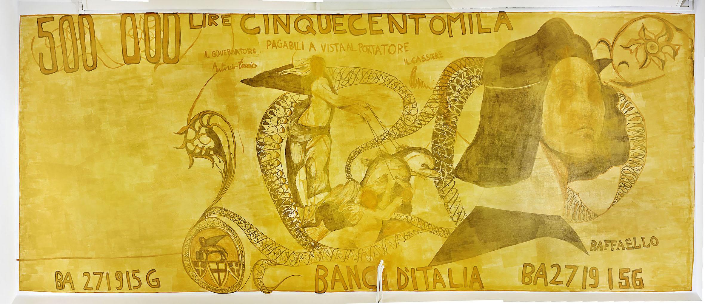 Flavio Favellli, Raffaello 500, 2020, acrilici su muro, cm 362 x 925. Museo Spazio Pubblico, via Curiel 13/d, Bologna. Foto Marco Pintacorona