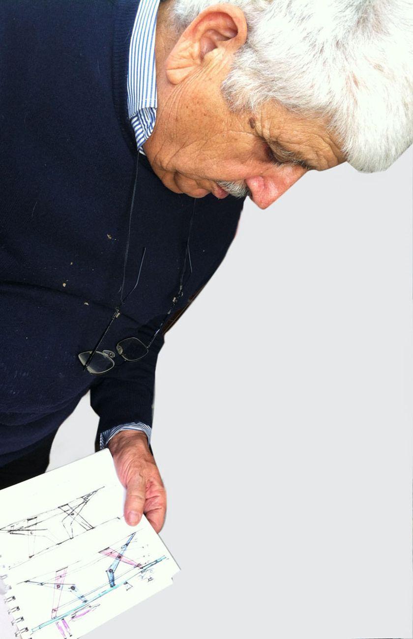 Franco Pedacchia durante uno dei suoi studi. Photo Roberto Angelini