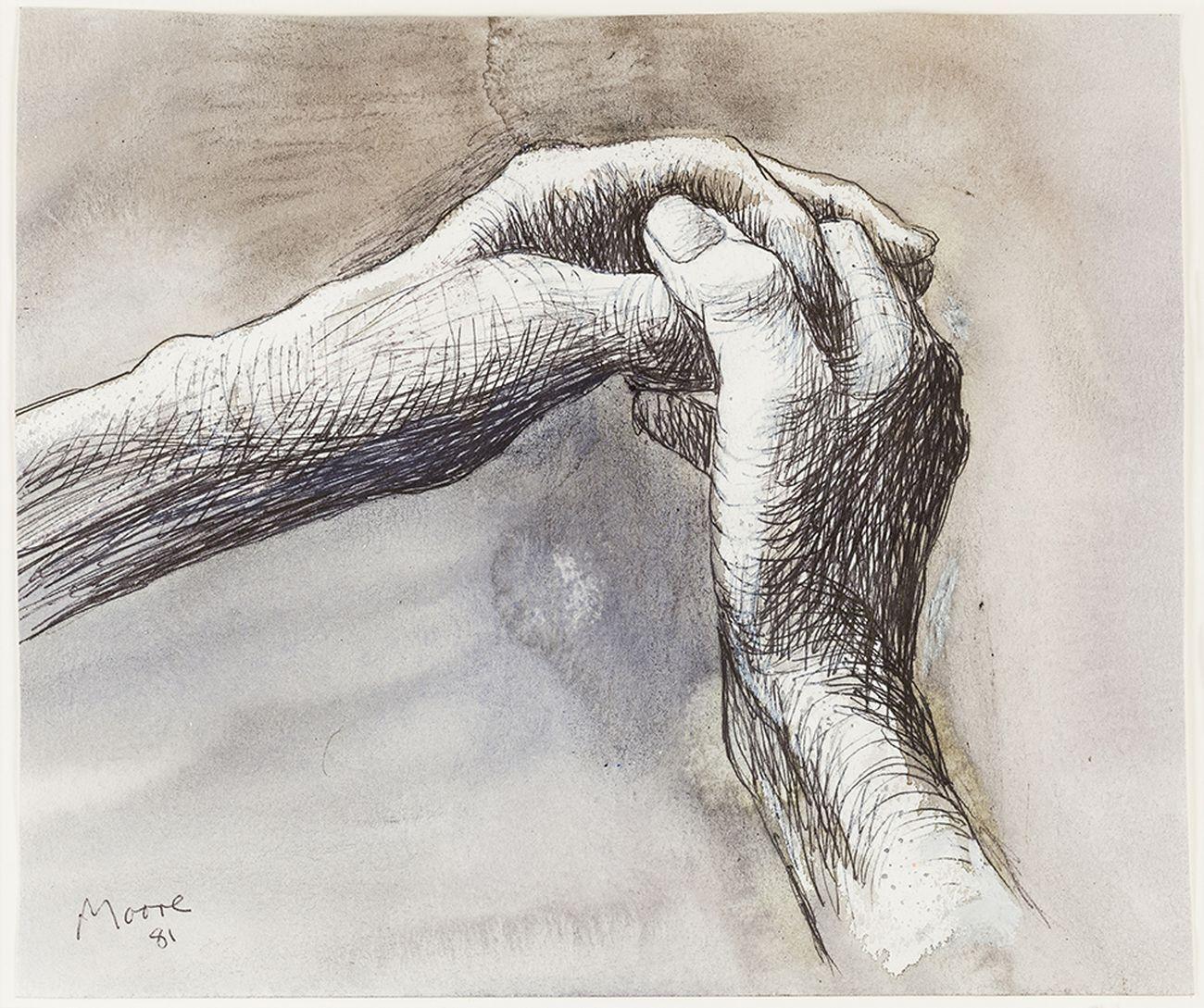 Henry Moore, The Artist's Hands, 1981. Photo Nigel Moore, Menor