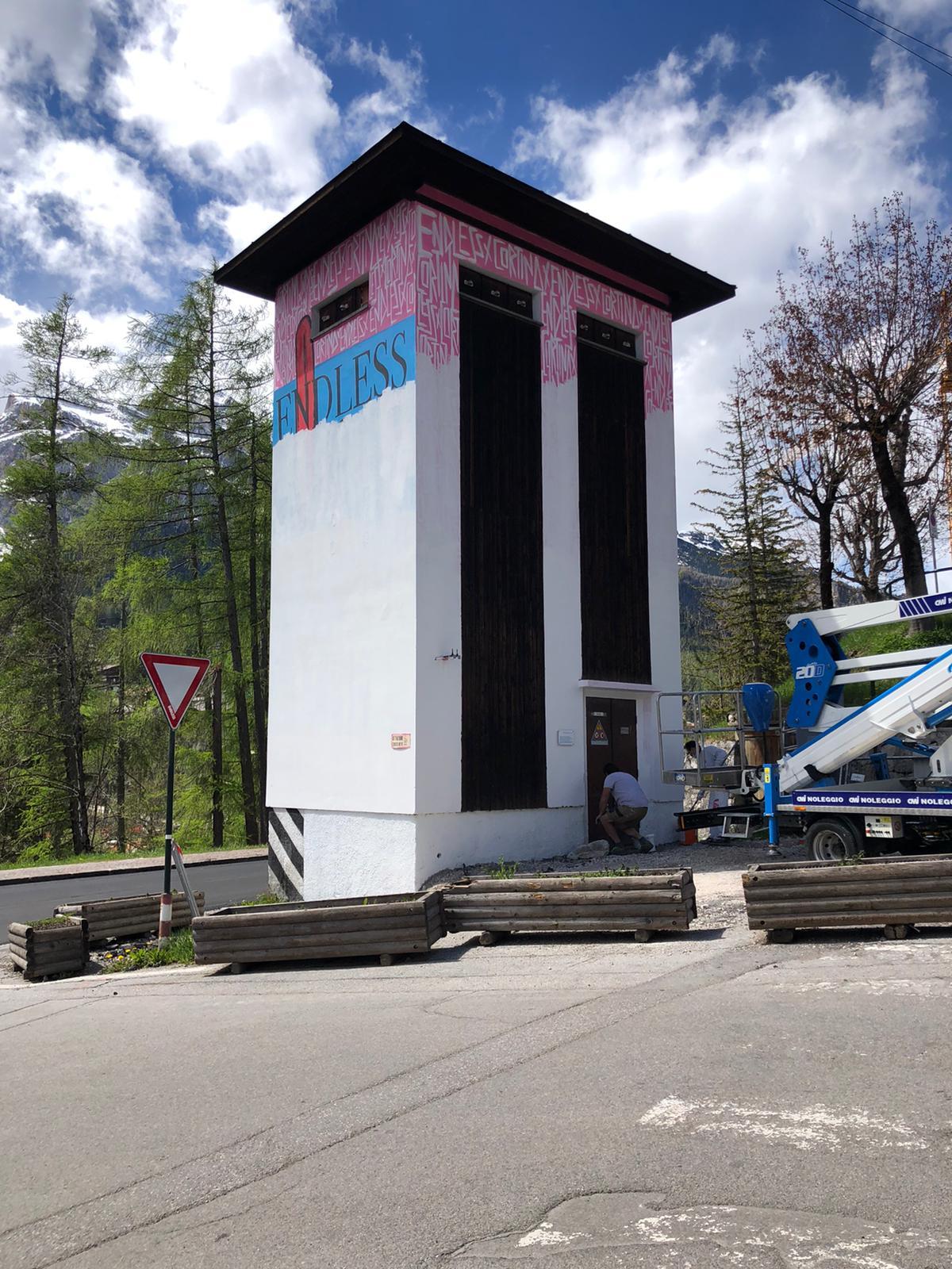 Il murale rimosso di Endless realizzato a Cortina D'Ampezzo per i mondiali di Sci