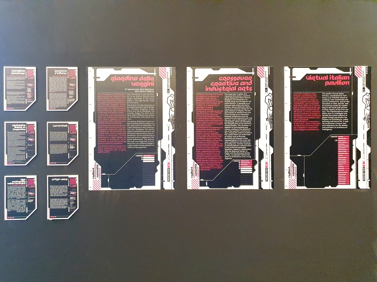 Info grafiche e pannelli dal Padiglione Italia 2021, Biennale Architettura Venezia