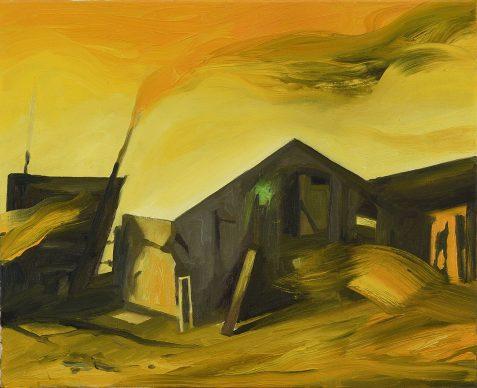 Karine Hoffman Chief mountain 2021. Huile sur toile 40 x 33 cm. Crédit © Courtesy Galerie Dix9 Hélène Lacharmoise 477x388