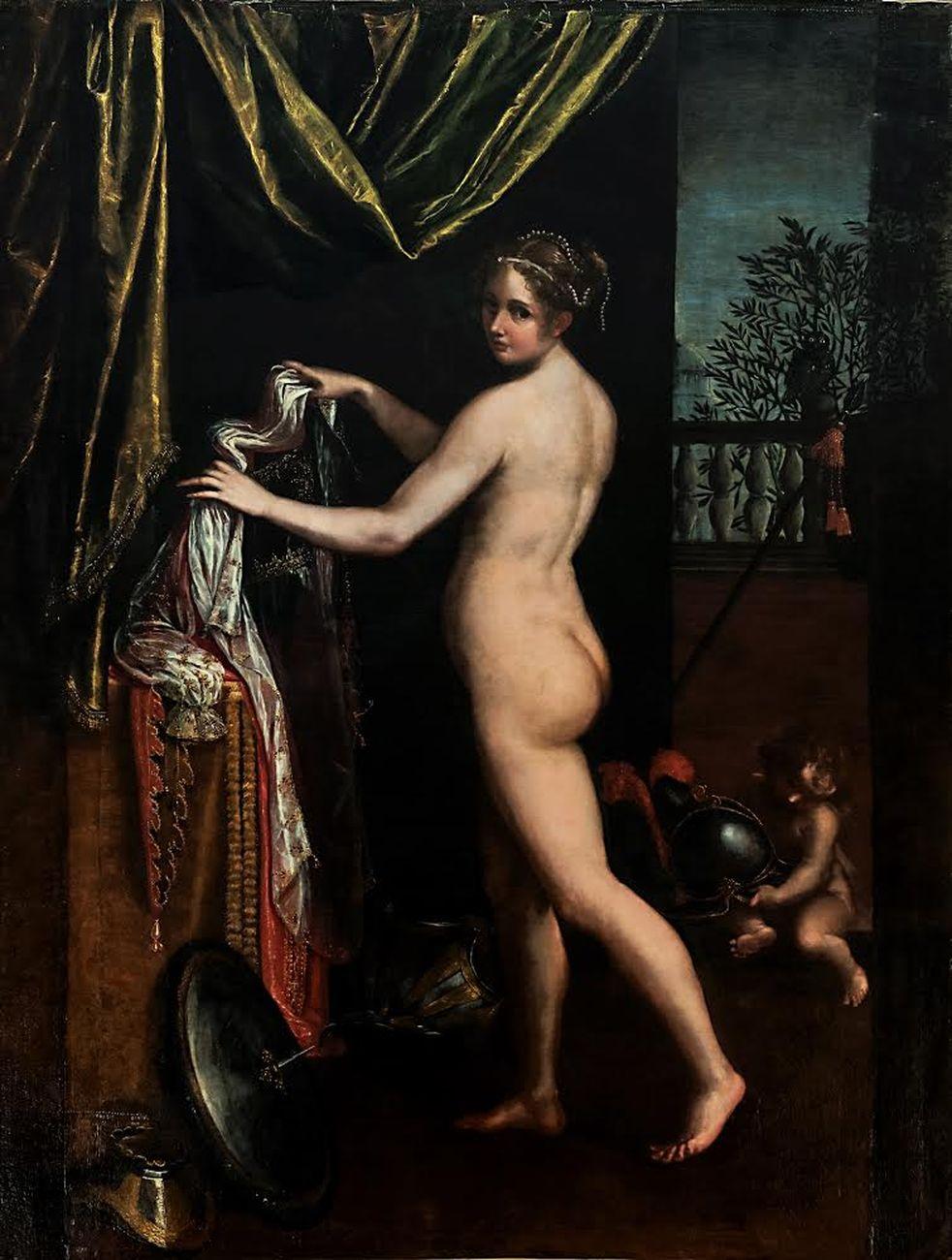 Lavinia Fontana, Minerva in atto di abbigliarsi, 1613, olio su tela, cm 258x190. Roma, Galleria Borghese