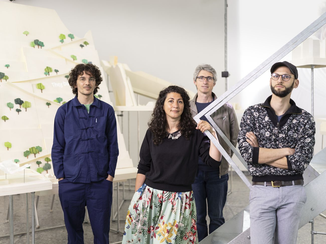 Project team for the Swiss Pavilion at the 17th International Architecture Exhibition - La Biennale di Venezia, May 2021. Left to right, Mounir Ayoub, Vanessa Lacaille, Fabrice Aragno and Pierre Szczepski. Photo Keystone - Gaëtan Bally