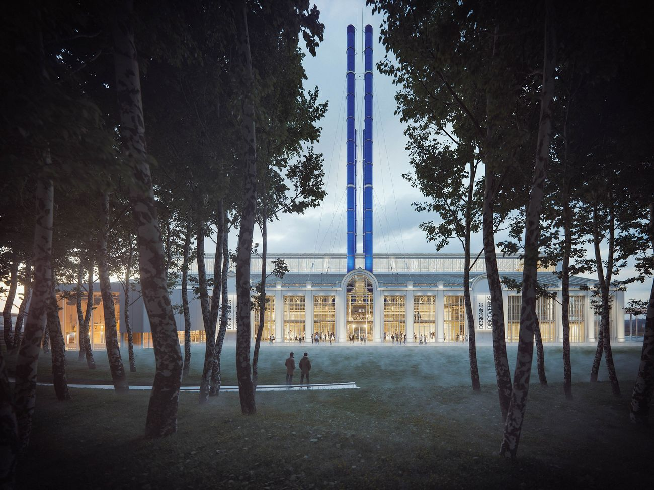 Renzo Piano Building Workshop GES 2, Mosca, Russia, 2015 in progress. View from the forest, render ® RPBW