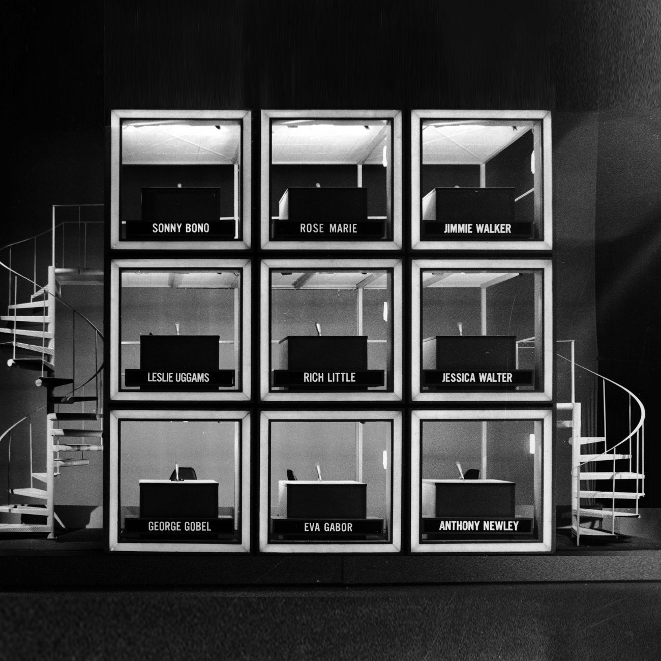 The Hollywood Squares. TV show, NBC. 1966 81. Created by Merrill Heatter & Bob Quigley. Set design by Dick Stiles. Courtesy of © NBCU Photo Bank, 1973