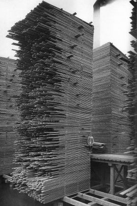 Webster & Stevens, Stacks of lumber, Seattle Cedar Manufacturing Plant, Ballard, 1958. Museum of History & Industry Photograph Collection. Courtesy Padiglione USA - 17. Mostra internazionale di Architettura, Venezia 2021