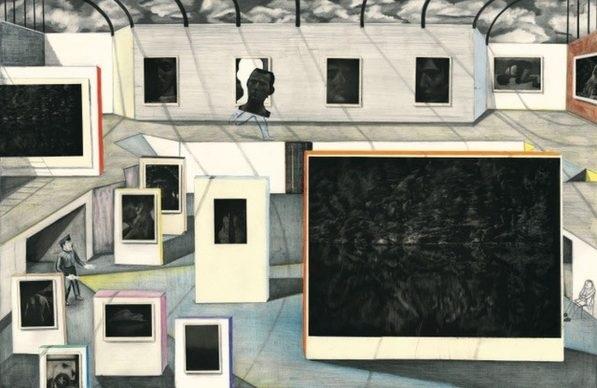 Yann Kebbi Fondation Kebbi 2018 2019. Crayon collage gravure sur cuivre aquatinte 90 x 60 cm 597x388