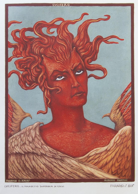 09)Alberto Martini, Lucifero (Paradiso, Capitolo XXIX), 1943-1944, Cartoncino, Collezione privata
