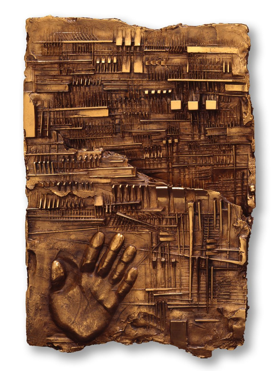 Arnaldo Pomodoro, Lettera a K, 1965, bronzo, 56x37x9,5 cm. Photo Aurelio Barbareschi