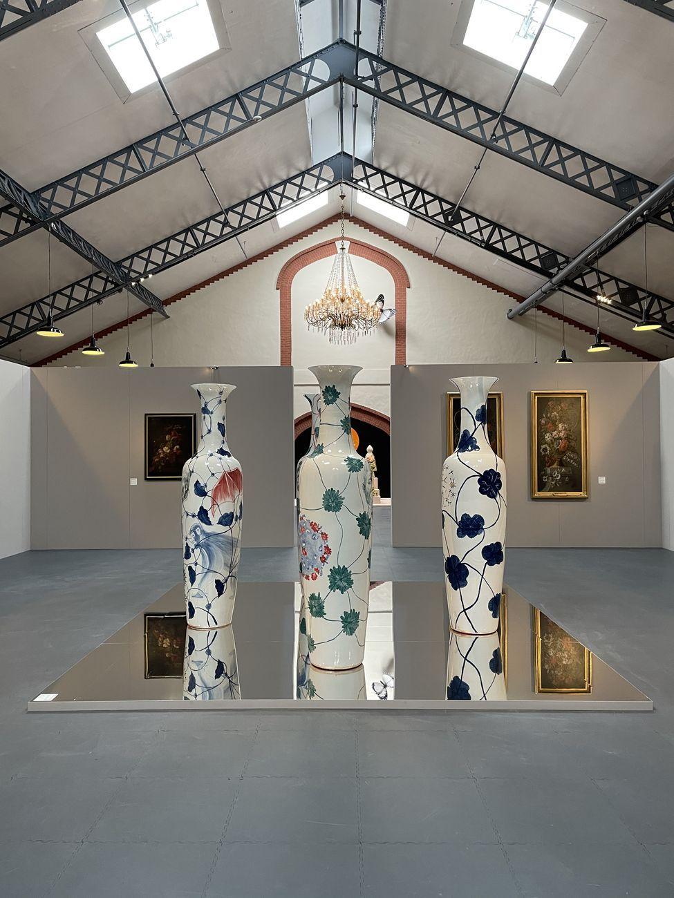 Barthélémy Toguo, Vaincre le virus ! V, VI, XIII,XVII, 2016. Installation view at Tenuta Pommery Cellier Pompadour