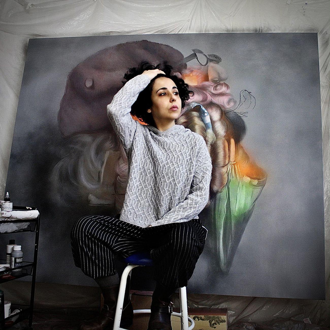 Beat Scaccia nel suo studio, New York, 2021