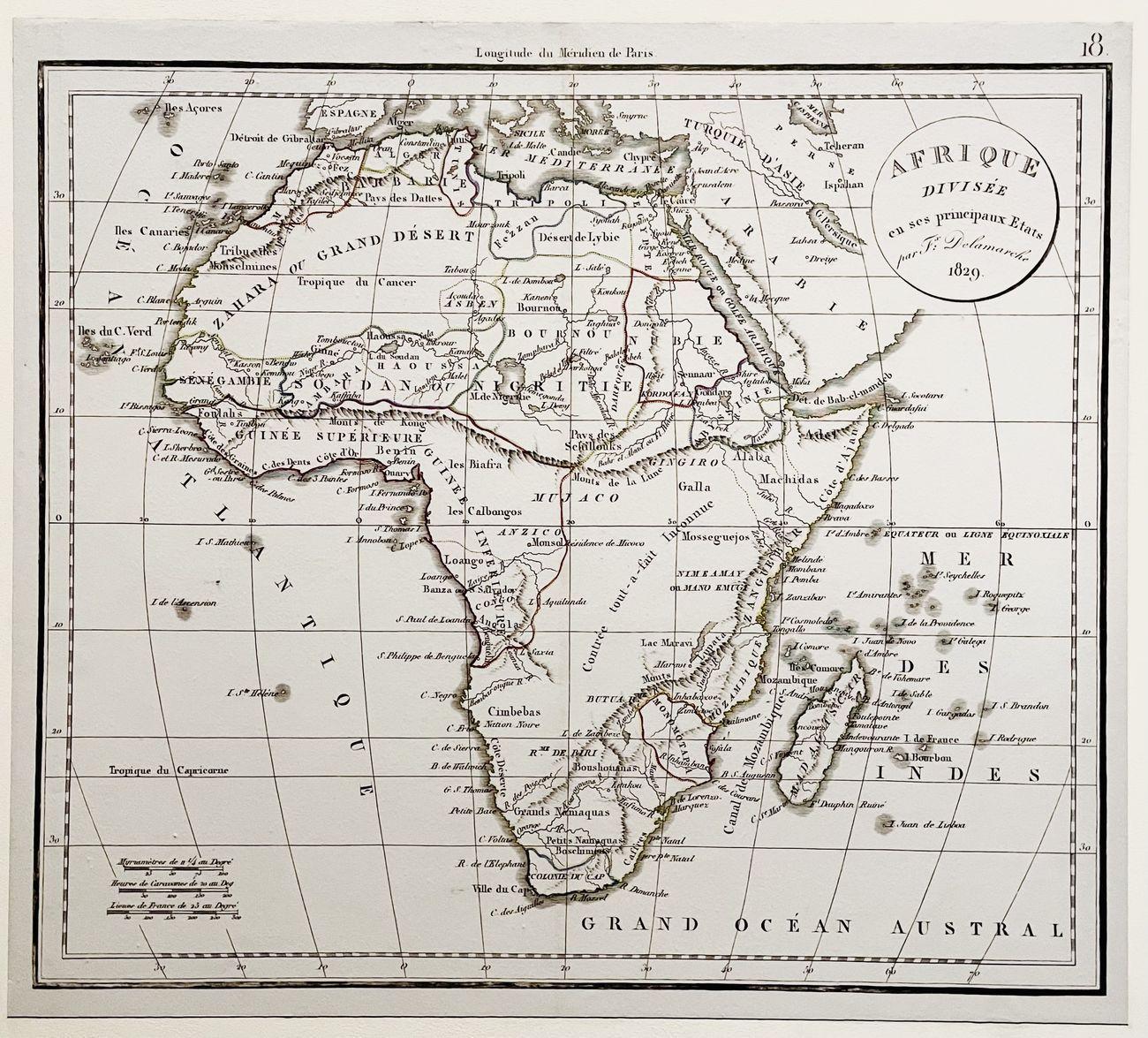 Delamarche map of Africa, 1829. Photo © Francesca Napoli