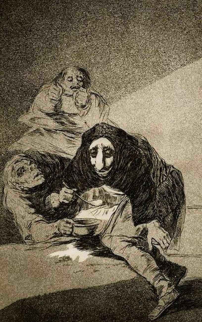 Francisco Goya, Capricho 54. El vergonzoso, 1799, acquaforte e acquatinta, 217x152 mm