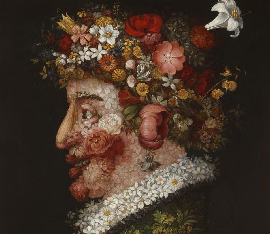 Giuseppe Arcimboldo, Le quattro stagioni. La primavera, 1563. Madrid, Museo de la Real Academia de Bellas Artes de San Fernando, dettaglio