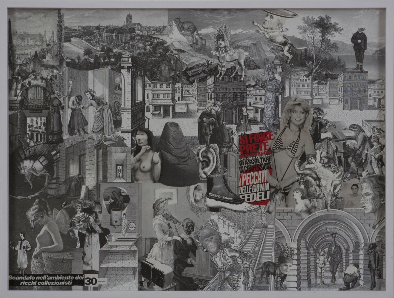 KINGS, Scandalo nell'ambiente dei collezionisti, 2021, collage su carta, cm 77x102. Courtesy Viasaterna Gallery