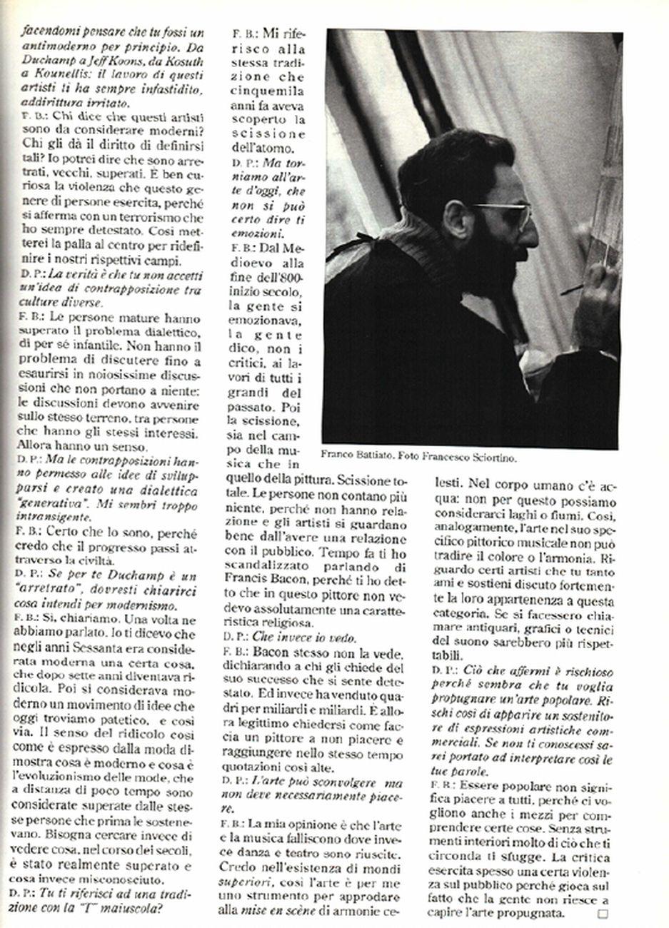 Lieder, mon amour. Al di là del modernismo. Intervista di Demetrio Paparoni a Franco Battiato, Tema Celeste, n. 32 33, 1991