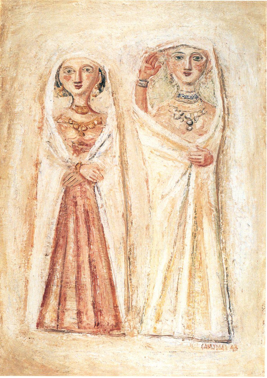 Massimo Campigli, Donne velate, 1943, olio su tela, 66x48 cm. Collezione privata, Bologna