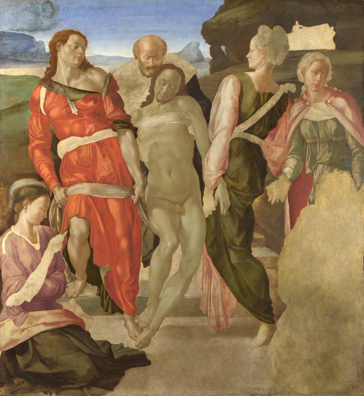 Michelangelo Buonarroti (attr.), Deposizione di Cristo nel sepolcro, 1500 01 ca., tempera su tavola, 161,7×149,9 cm. National Gallery, Londra