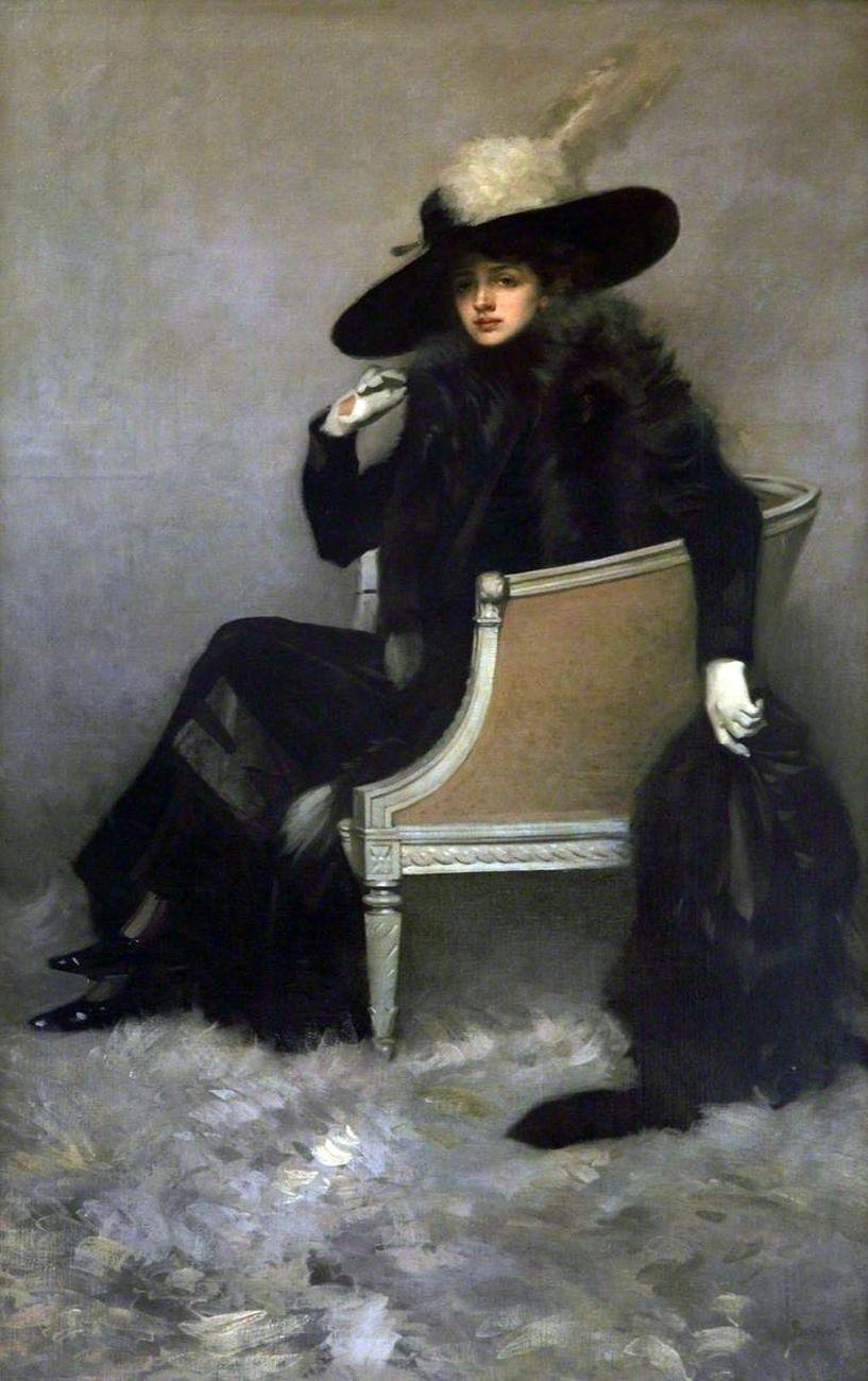 Pilade Bertieri, Lady in black furs, 1912, olio su tela, cm 222x131. Courtesy Beatrice Burati Anderson